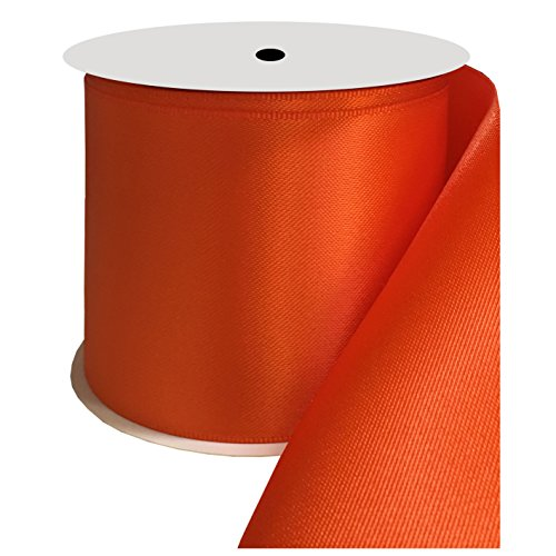 DUOQU 3 inch Wide Double Face Satin Ribbon 10 Yards Roll Multiple Colors Torrid Orange by DUOQU
