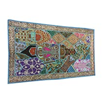 Mogul Indian Sari Tapestry Sequin Embroidered Patchwork Wall Hanging