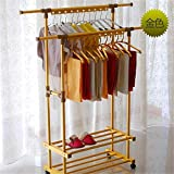 Balcony Drying Rack Indoor Aluminum Lifting L Cool Hanger Floor Folding Thick Double Pole Clothes Pole,Gold