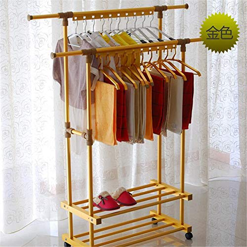 Balcony Drying Rack Indoor Aluminum Lifting L Cool Hanger Floor Folding Thick Double Pole Clothes Pole,Gold by YIN QM (Image #4)