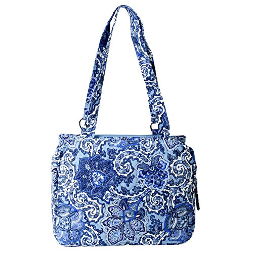 Waverly Triple Entry Satchel (Quilted Blue Paisley) (Quilted Large Handbag)