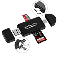 SD Card Reader, Micro SD/TF Compact Flash Card Reader with 3 in 1 USB Type C/Micro USB Male Adapter and OTG Function Portable Memory Card Reader for PC & Laptop & Smart Phones & Tablets (USB 2.0)