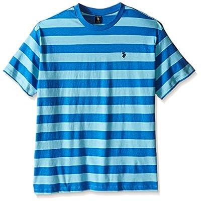 U.S. Polo Assn.. Men's Big-Tall Stripe Crew Neck T-Shirt, Blue Tile Heather, 2X   .com