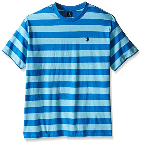 U.S. Polo Assn.. Men's Big-Tall Stripe Crew Neck T-Shirt, Blue Tile Heather, (Stripe T-shirt)