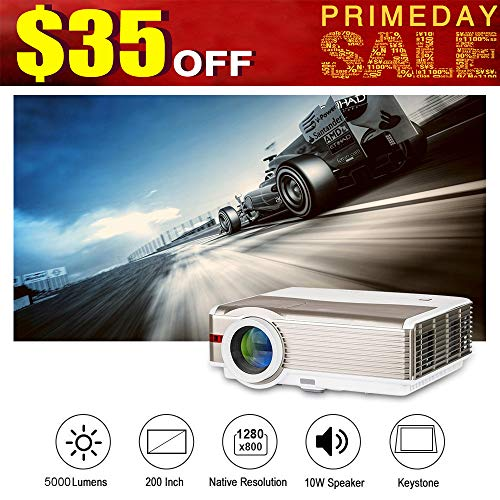 LED HD Home Theater Outdoor Movie Projector 5000 Lumens Full 1080P Support WXGA Multimedia LCD Video Game Projector with HDMI Input USB VGA AV Input Audio out Speakers for iPhone Android DVD TV Laptop -