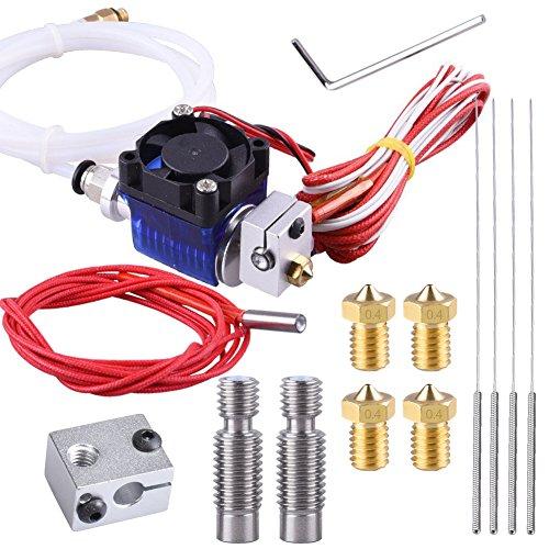 SIQUK All-Metal V6 Hotend Full Kit with 4 Pcs Brass Nozzles + 2 Pcs Throat + 4 Pcs Cleaning Needles for E3D V6 Makerbot RepRap 3D Printers(Bonus:1 Pc Heating Block + 1 Pc Ceramic Cartridge Heater) by SIQUK