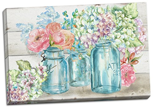 Gango Home Decor Beautiful Watercolor-Style Colorful Flowers in Mason Jar Floral Print by TRE Sorelle Studios; One 20x16in Stretched Canvas]()