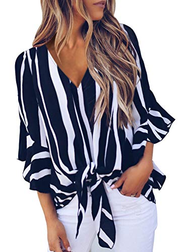 Women Striped V Neck Ruffle 3 4 Sleeve Tee Tops Ladies Tie Knot Blouse Tunics X-Large 16 18 - Top V-neck Striped Sleeve