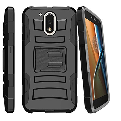 MINITURTLE Case Compatible w/Motorola Moto G4 (G 4th Gen) / Moto G4 Play (XT1625) Non-Slip Dual Layer Kickstand and 180-Degree Swivel Clip Cover from MINITURTLE - Black