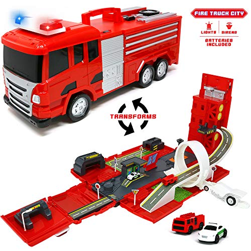 - Big Mo's Toys Firetruck Playset - Fire Truck and Playset with Cars All in One - Ideal for Kids Gifts