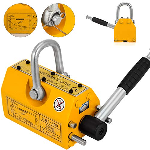 Happybuy Steel Magnetic Lifter 660 LB Metal Lifting Magnet 300 KG Neodymium Magnetic Lift Hoist Shop Crane(300KG)