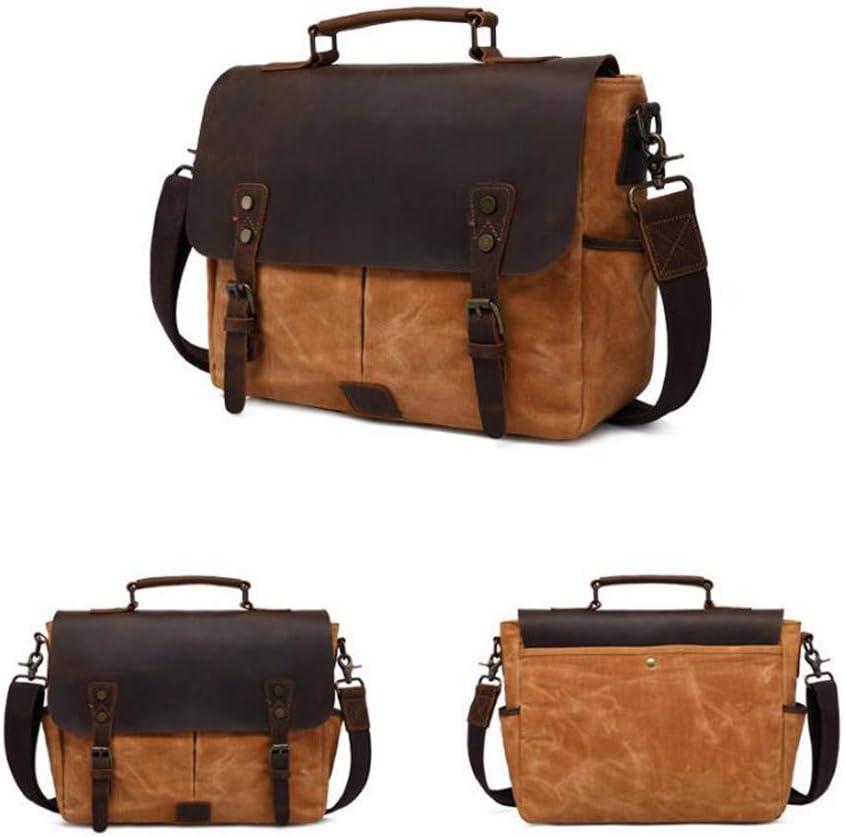FeliciaJuan Camera Backpack Case Waterproof Retro Crazy Horse Leather Shoulder Bag DSLR SLR Canvas Shockproof Camera Bag Color : Deep Grey