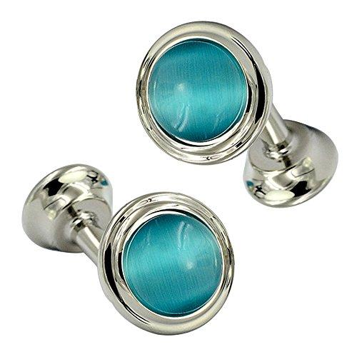 Fashion Blue Round Double Sided Cufflinks Beautiful Cat Eye Stone Art Deco Cufflinks by Daptsy