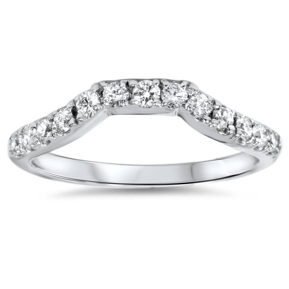 14K White Gold 3/8ct Diamond Wedding Anniversary Curved Guard Ring - Size 6.5 by P3 POMPEII3