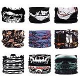 Scott Edward 9pcs Headbands Headwear elástico Magia Bufanda Bandana Máscara de Deportes Yoga sin Costuras Camuflaje, Color de la Flor, Color Multi-Solid, para los Hombres y Las Mujeres