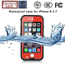 """Redepepper-Waterproof Case for iPhone 6/6s (4.7"""") /iPhone 6/6s Plus 5.5 inch Screen SnowPrrof ShockProof DirtProof Case Cover Étui étanche Coque Housse (iPhone 6 4.7"""", Red)"""