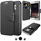 Galaxy S6 Edge Wallet Case TAKEN ENJOY STYLISH, PROFESSIONAL AND DURABLE LEATHER PROTECTIONPU Double Layer Shock Absorbing Premium Soft PU Color matching Leather Wallet Cover Flip Cases For Samsung Galaxy S6 Edge (Black)