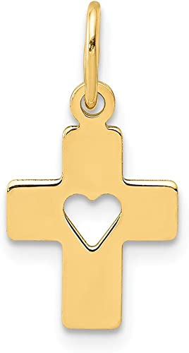 14k Cross In Heart Charm
