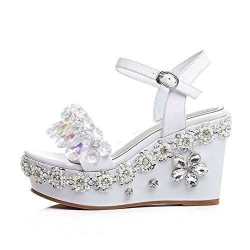 BalaMasa Womens Platforms-Sandals High-Heels Firm-Ground Urethane Platforms Sandals ASL04489 White wC9GGlg3