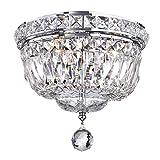 Edvivi 3-Light Chrome Finish Crystal Ceiling Flush Mount Chandelier | Glam Lighting For Sale