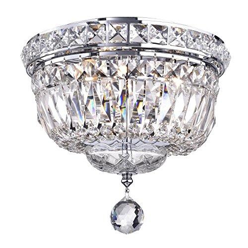 Edvivi 3-Light Chrome Finish Crystal Ceiling Flush Mount Chandelier | Glam Lighting ()