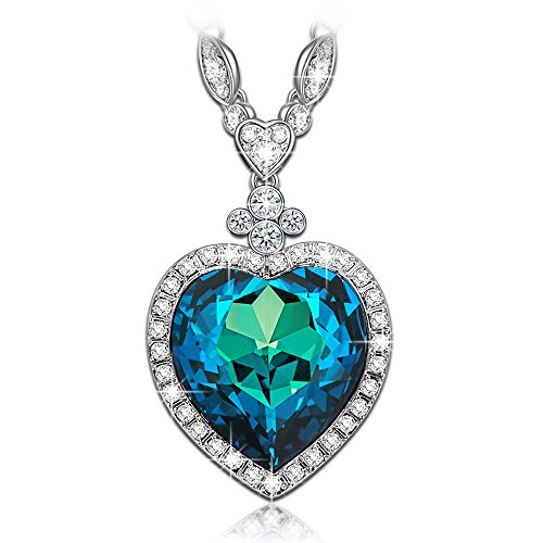 LadyColour Valentines Day Gifts Necklace Heart of Ocean Swarovski Crystals Necklace Sapphire Pendant Jewelry for Women Birthday Gifts for Women Teens Girlfriend Wife Mom Sister Gifts for (Inspired Pave Heart)
