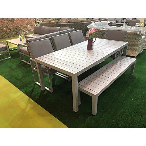 Oak Furniture House Juego de mesa, sillas y banco de madera ...