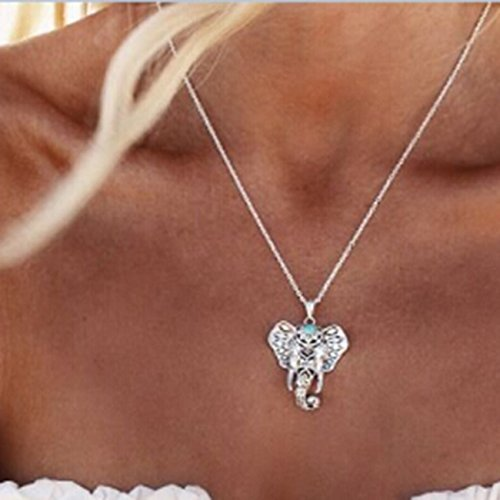 Elephant Charming (Rurah Fashion Charming Retro Turquoise Elephant Pendants Bohemia Necklaces)