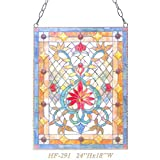 HF-291 Tiffany Style Stained Glass Luxury Rectangle Window Hanging Glass Panel Sun Catcher, 24''Hx18''W