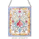 HF-291 Tiffany Style Stained Glass Luxury Rectangle Window Hanging Glass Panel Sun Catcher, 24''Hx18''W