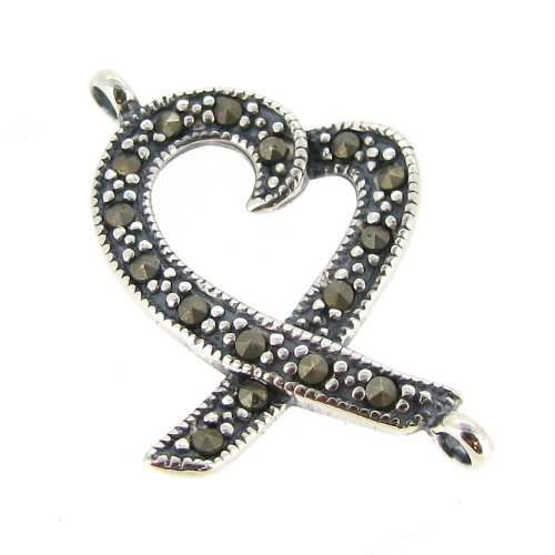 1 pc Bali Antique .925 Sterling Silver Vintage Peace Heart Ribbon Marcasite Link Connector / Findings / Antique ()