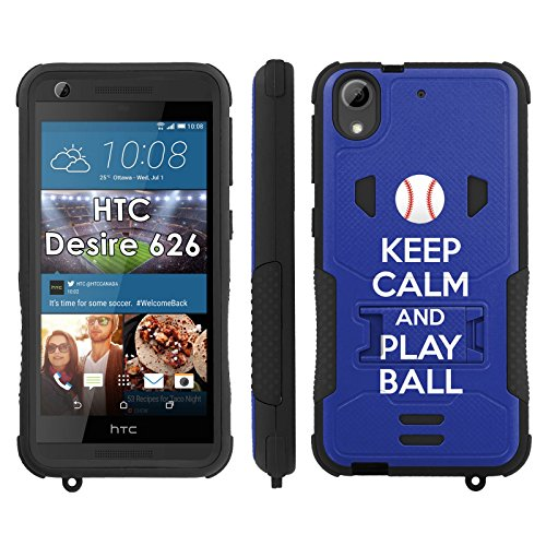 [Flak Jacket Dual Armor with Kick-stand Phone Cover, Keep Calm and Play Ball - Los Angeles - Mobiflare HTC Desire 626 Flak Jacket Dual Armor with Kick-stand Phone Case] (Dodgers Mlb Flak Jacket)