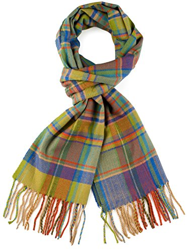 Plum Feathers Plaid Check and Solid Cashmere Feel Winter Scarf (Lime-Orange Plaid)