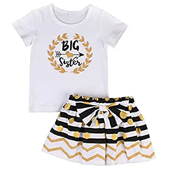 Little Sky Big Sister Outfit, Big Sister Bodysuit Tops Bowknot Striped Skirts Dress Set