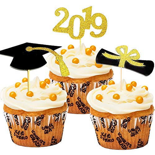 - Qingo Graduation Cupcake Toppers Class of 2019,Grad. Party Decoration Food Picks Cake Picks Diploma, 2019, Grad Cap Set 48 Pack