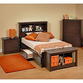 Prepac Fremont 4 Piece Twin Youth Bedroom Set In Espresso