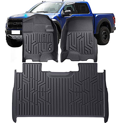D-TOOLS Floor Mats for F150, Custom Fit Floor Liners for 2015-2019 Ford F-150 SuperCrew Cab, 1st & 2nd Row All Weather Protection