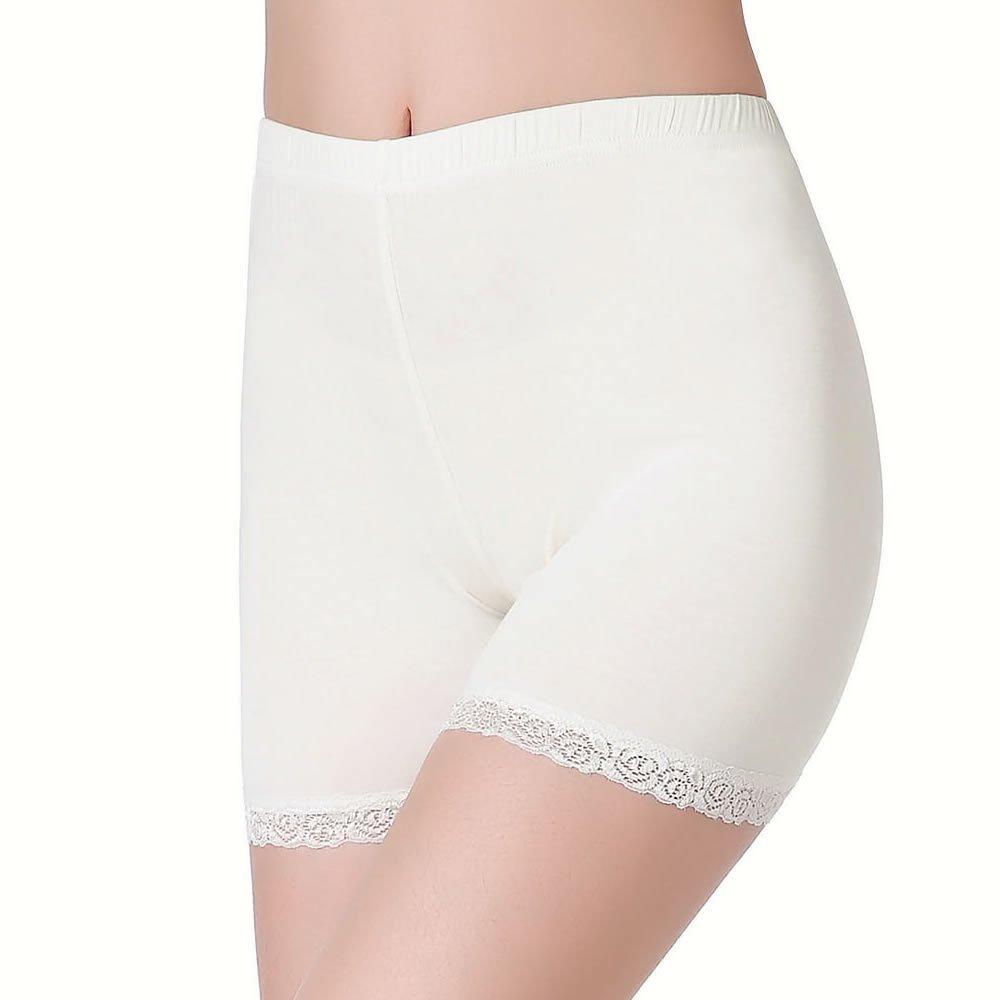 Weich Elastisch Leicht Damen Hose Unter Rock Kurz Leggings mit Spitzenrand