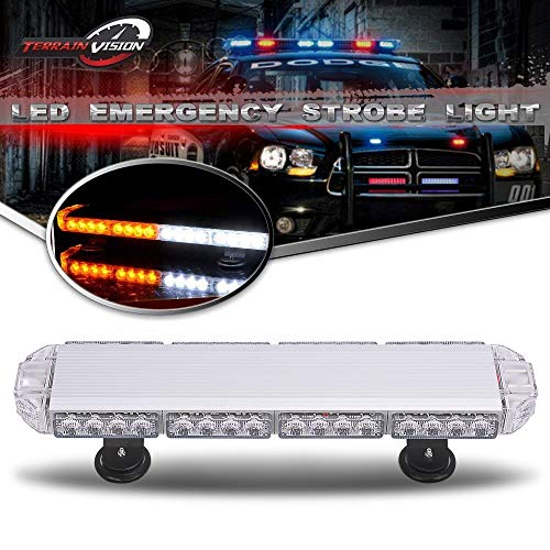 TERRAIN VISION Amber White 56 LED 23Inch 168W High Intensity Law Enforcement Emergency Hazard Warning LED Mini Bar Strobe Light with Magnetic Base