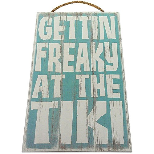 (Gettin Freaky At The Tiki Vintage Wood Sign For Tiki Bar Wall Decor Or Gift -- PERFECT TIKI BAR DECOR!)