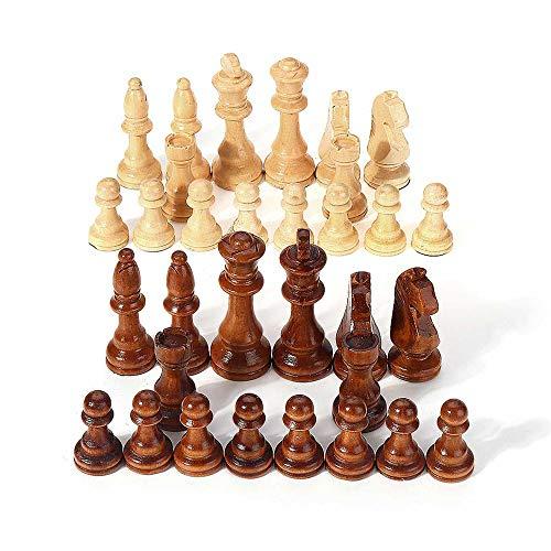 WAGX Piezas de ajedrez, Piezas de ajedrez de Madera con Bolsa de Almacenamiento – 3.15 Pulgadas Rey, agravamiento de…