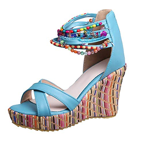 (getmorebeauty Women's Wedge Sandals with Pearls Across The Top Platform Sandals High Heels (6 B(M) US, Blue))