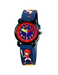Fun 3D Cartoon Fashion Simple Kids Watches for Boys Waterproof Watches Time Teacher Baseball