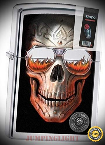 29108 Anne Stokes-Skull & Sunglasses Polish Chrome Lighter with Flint Pack - Premium Lighter Fluid (Comes Unfilled) - Made in ()