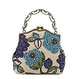 Urban CoCo Women's Vintage Luxury Beaded Clutche Handbag Evening Bag (Blue model A)