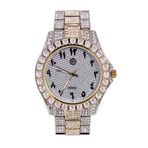 Men's Analog Display Iced Out Gold Watch with Arabic Dial and Simulated Diamond Crystals