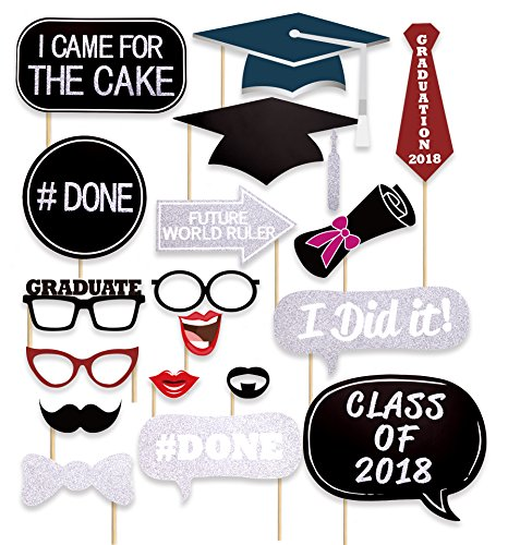 36 Ct Glitter Graduation Photo Booth Props - Party Supplies Decorations - Mortarboards Diplomas Ornaments