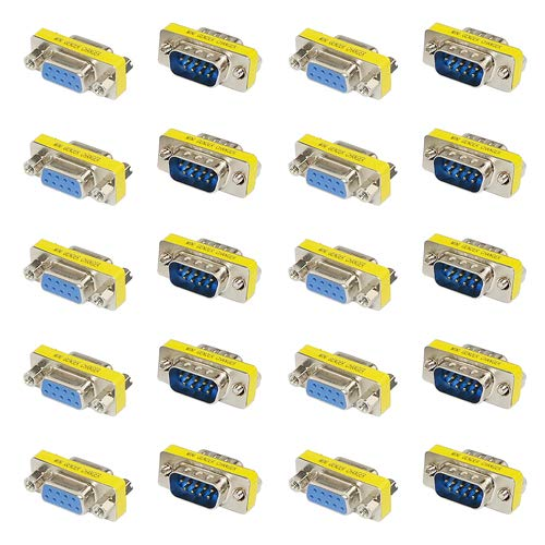XLX 20PCS(10Pairs) DB9 9 Pin Male to Male Female to Female RS-232 Plate Insert Type Connectors Serial to Terminal Cable Gender Changer Coupler Adapter Assortment Kit