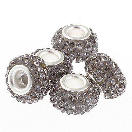 (RUBYCA Big Hole Handmade Czech Crystal Slide Beads fit European Charm Bracelet (5pcs, Grey, 11mm))