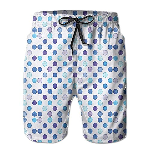 NTK0SKAI Men's Vintage Polka Dots Motif With Different Shades On Blue Tones Swimming Shorts Funny Beach Pants X-Large